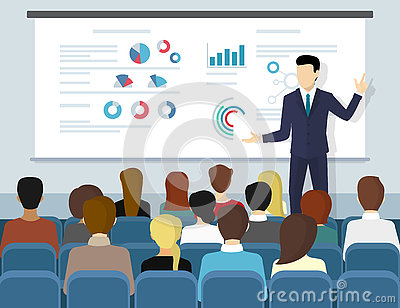 Business seminar speaker doing presentation and professional training