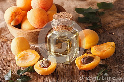 apricot kernel oil in a glass jar closeup and ingredients. Horizontal
