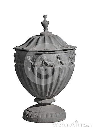 Cast lead old garden urn isolated on white