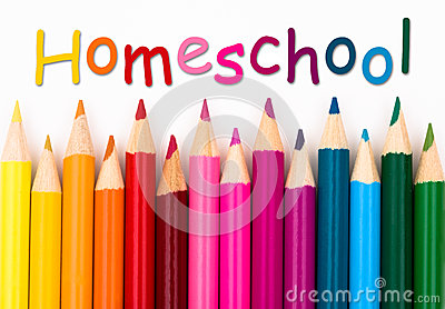 Pencil Crayons with text Homeschool
