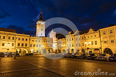 Old town of Ceske Budejovice at night, Budweis, Budvar, S