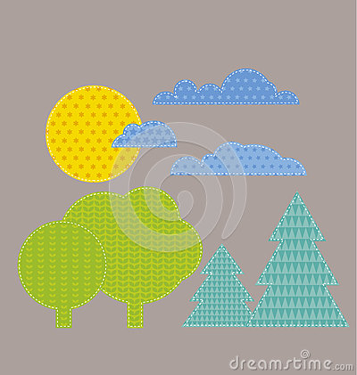 Patchwork style kid landscape vector illustration.