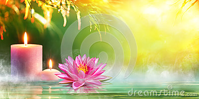 Spa - Serenity And Meditation With Candles And Waterlily