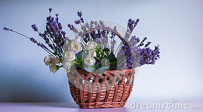 Lavender and white rose in creel