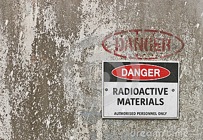 Red, black and white Danger, Radioactive Materials warning sign