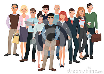 Group of men and women. Business creative team with leader.