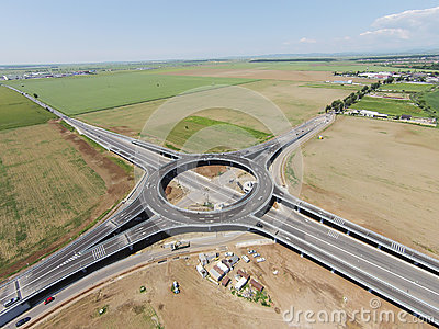 Suspended roundabout,  aerial view