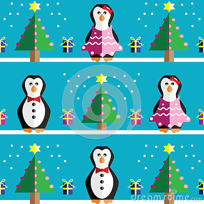 SSeamless pattern with geometrical Mr and Mrs Penguin, gifts with ribbon, snow, Christmas trees with  pink lights and star element