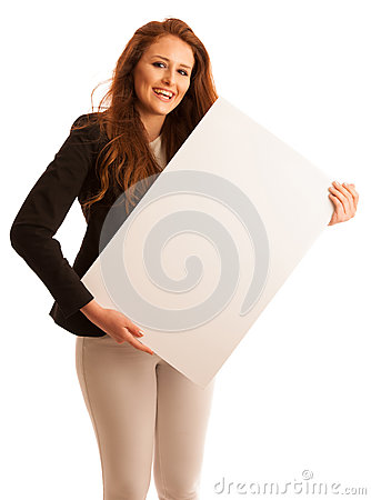 Sign board. Woman holding big white blank card. Positive emotion