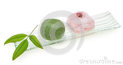 Japanese cake on a glass plate