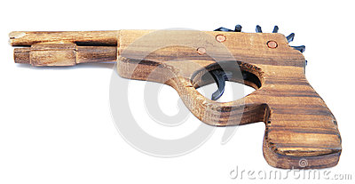 Wooden toy gun for child isolated