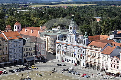 Czech Republic, Budweis, 3 July 2016: Historic centre of Ceske Budejovice, Budweis, Budvar, South Bohe