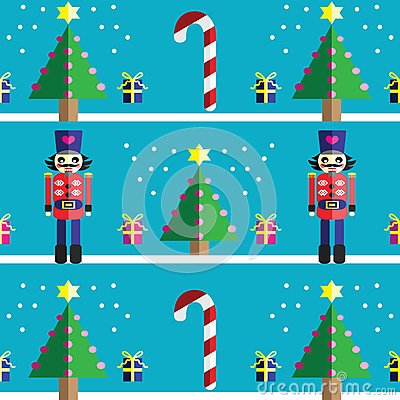 Christmas Seamless pattern with geometrical nutcracker soldier  with  gifts with ribbon, snow, sweets,  xmas trees