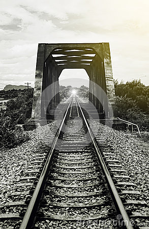 View of railway and old steel bridge,mean There light at the end of the tunnel,success way