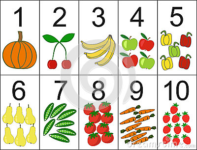 Score of one to ten, located next the desired quantity fruit or vegetables.