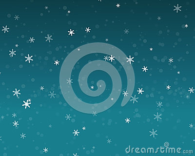 Snow fall in blue sky, Christmas night background