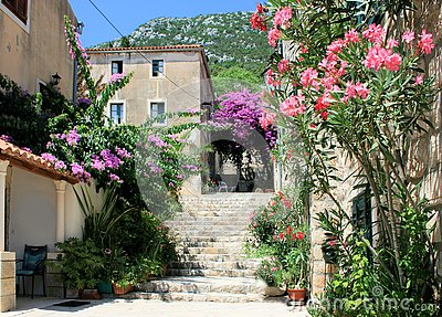 Stairs to defence wall in Mali Ston, Croatia