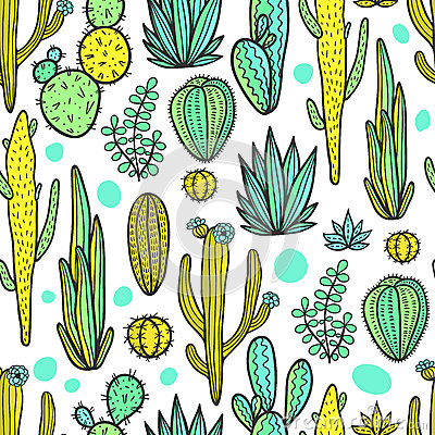 Beautiful Cactuses Abstract Natural Seamless Pattern