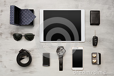 Set of modern businessmen accessories