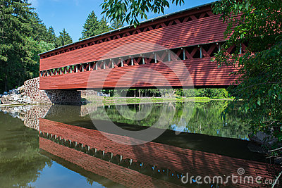 Sachs Bridge With Reflection In the Water in Gettysburg, Pennsylvania