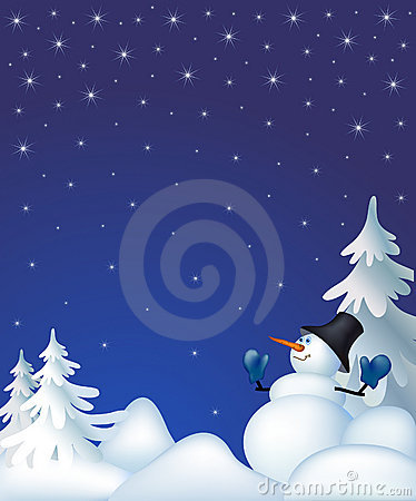 Snowman in a night winter forest