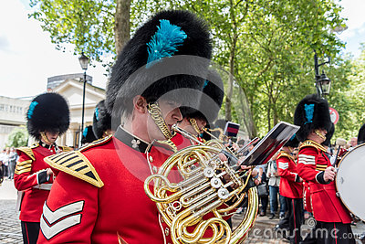 Musicians at the Changing of the Guard Performance at Buckingham Palace in London, UK