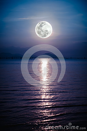 Romantic scenic with full moon on sea to night. Reflection of mo
