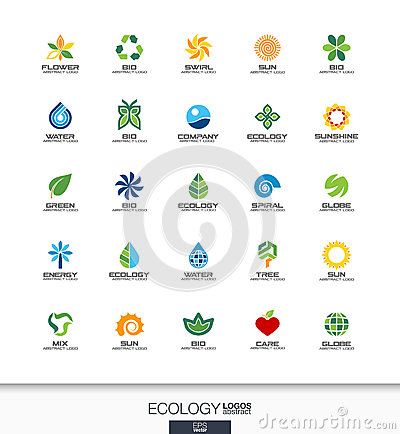 Abstract logo set for business company. Ecology plant, bio nature, tree, flower concepts. Environment, green, recycle