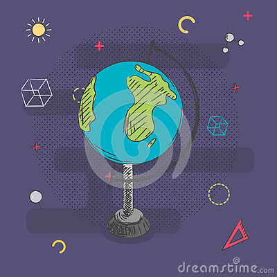 Globe hand drawn on background with abstract school sings . Vector illustration. .