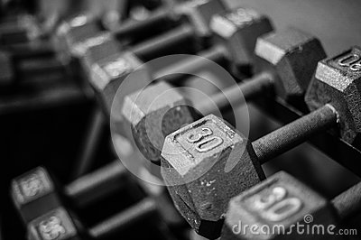 Weights on rack