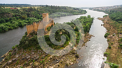 Old Almourol Castle aerial view Portugal