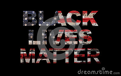 Black lives matter slogan on American flag