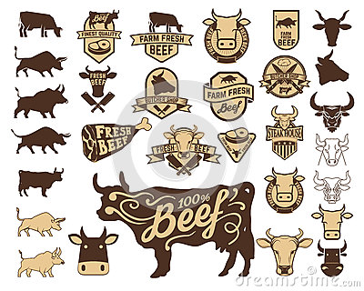 Set of the fresh beef logo. Cow icons.