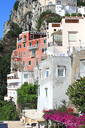 Capri island in beautiful summer day in Mediterranean Sea Coast, Italy.