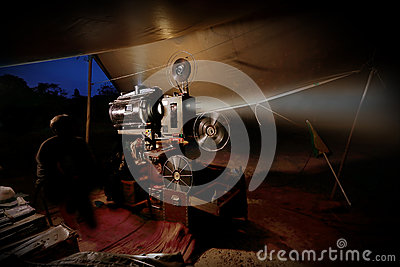 Vintage old film projector with reels