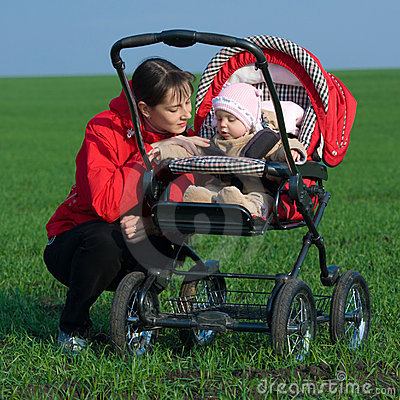 Woman with baby buggy