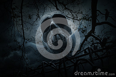 Human skull with old fence over dead tree, crow, moon and cloudy