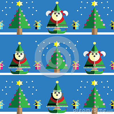 Christmas Seamless pattern with male and female elf  with  gifts with ribbon, snow,  Xmas trees with  pink, blue, orange lights an