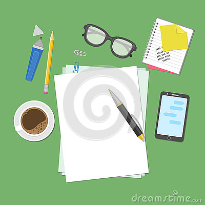View from above of blank sheets of paper, pen, pencil, marker, smart phone, a notebook, stickers, glasses, coffee cup.