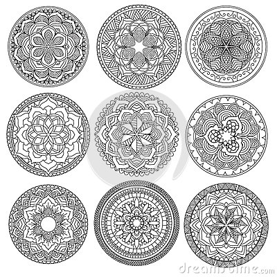Mandala.Floral mandalas set.Coloring book. Outline . Pattern. Weave design element