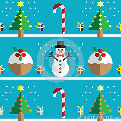 Christmas Seamless pattern with geometrical Snowman, christmas puddings ,  gifts with ribbon, snow,   xmas trees with lights