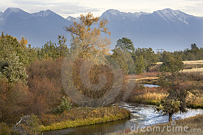 Fall Colors River Reflections Mountains Montana