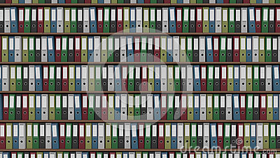 Big archive full of colored office binders, CGI
