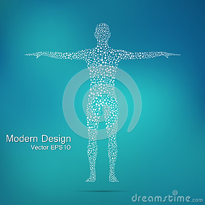 Structure molecule of man. Abstract model human body DNA . Medicine, science and technology.