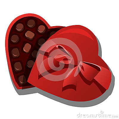 Chocolate box of chocolates in heart shape