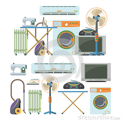 Vector set of home electronics objects isolated on white background. House appliances icons.
