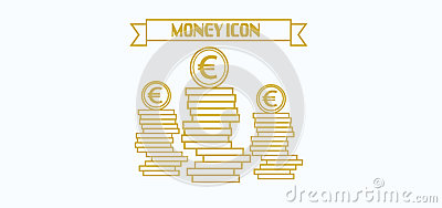 Money icon with euro currency symbol with coins over white background, in outlines