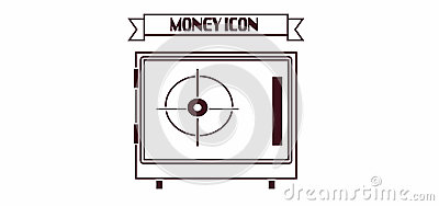 Money icon with a safe design over white background, in outlines
