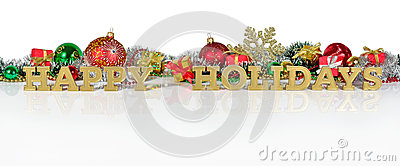 Happy holidays golden text and Christmas decorations