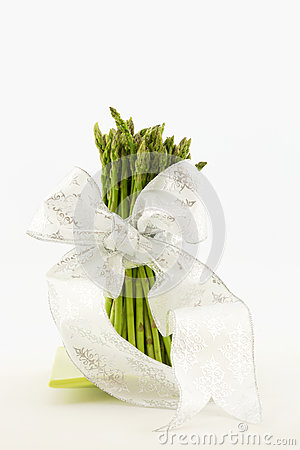 Asparagus Stalks Tied with White Ribbon